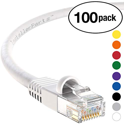 InstallerParts (100 Pack) Ethernet Cable CAT5E Cable UTP Booted 6 FT - White - Professional Series - 1Gigabit/Sec Network/Internet Cable, 350MHZ (24 Cord Awg Patch)