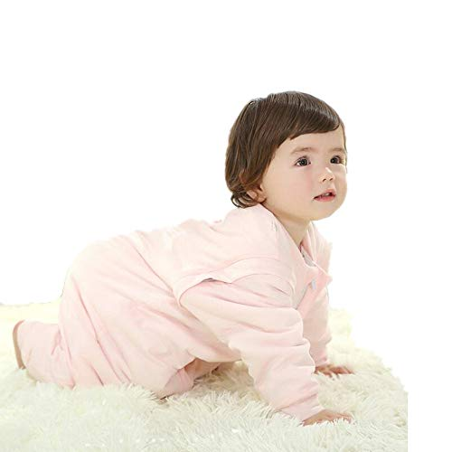 (Attention Baby Sleeping Bag Feet Warm Lined Long-Sleeved Baby Sleepsuit Children Anti Kick Sleep Sack(Pink M(31.5-35.4in(Thicken))))