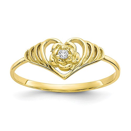 10k Yellow Gold Cubic Zirconia Cz Heart Band Ring Size 6.00 S/love Fine Jewelry Gifts For Women For ()