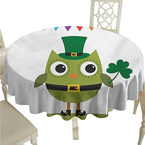 duommhome St. Patricks Day Waterproof Tablecloth Owl with Leprechaun Costume Greeting Design for Party Shamrock Pattern Easy Care D43 Multicolor ()