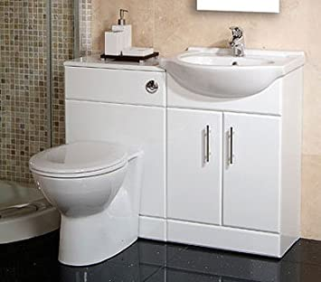 55 White Toilet And Basin Vanity Combination Unit Amazoncouk