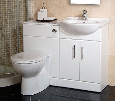 55 White Toilet And Basin Vanity Combination Unit