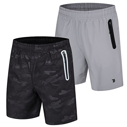 TBMPOY Men's 2 Pack Outdoor Woven Reflective Athletic Hiking Shorts(04,Black Print+Light Grey,us M)