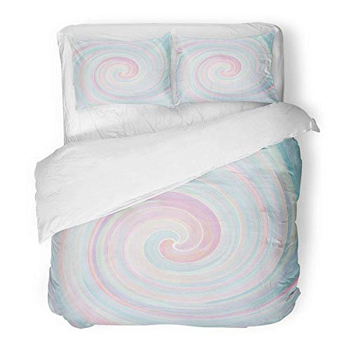 MIGAGA Decor Duvet Cover Set Twin Size Pink Color Watercolours Serenity and Rose Quartz Pastel Tones Abstract Swirl Blue 3 Piece Brushed Microfiber Fabric Print Bedding Set Cover