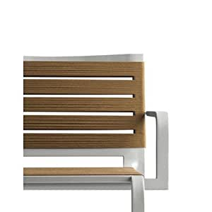Rest Stacking Armchair [Set of 4] Seat Colour: Brown Ropes, Frame Finish: Aluminium White Lacquer