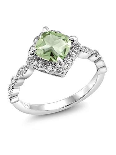 925 Platinum Plated Sterling Silver Green Amethyst Ring (1.74 Ct Cushion Cut Available in size 5, 6, 7, 8, 9) (Price Patron Platinum)