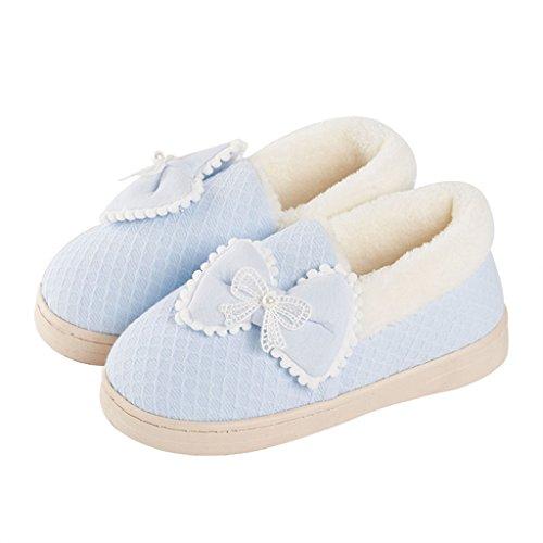 Hausschuhe DWW-Taihewen Firms Baumwolle Slipper Rutschfeste Plattform mit Baumwolle Schuhe Warm und Atmungsaktiv Weich und Bequeme Schuhe Blau