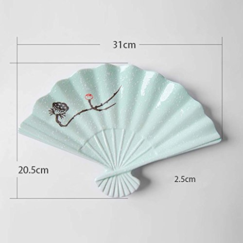 Creative Japanese Style Tableware, Underglaze Hand Painted Specialty Restaurant Ceramic Sushi Plate, Fan Disk, Dinner Plate, Sashimi Plate (Color : Jasper Ching Lin)