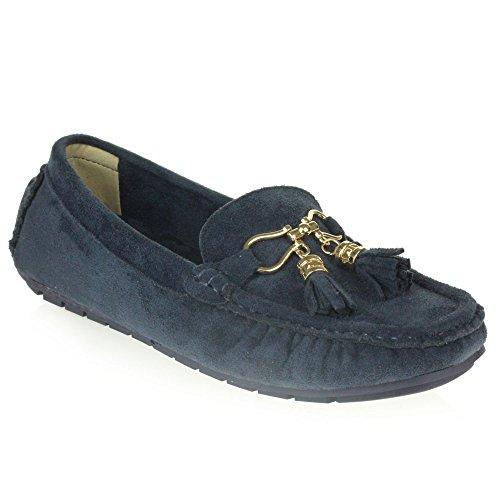 Frau Damen Komfort Büroarbeit Loafer Mokassins Geschlossene Zehe Flach Schlüpfen Schuhe Größe Marine