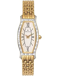 Bulova Womens 98W03 Diamond Gold-Tone Steel Watch