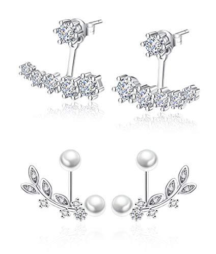 Ear Jacket Cuff Earrings Set Sterling Silver Front Back 2 in 1 with CZ Pearl - Front Back Earrings