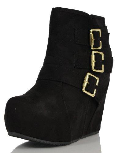 Black Suede Buckle Boots (Soda Women's Besso Faux Suede Triple Buckle Platform Wedge Ankle Bootie Boot, Black, 10 M US)