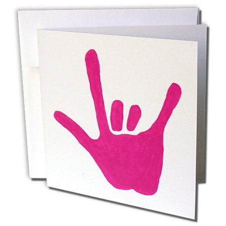 Price comparison product image 3dRose Love Sign Language Pink - Greeting Cards, 6 x 6 inches, set of 6 (gc_14308_1)
