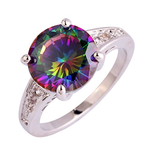 Veunora 925 Sterling Silver Created Rainbow Topaz Filled Promise Engagement Ring for Women (Topaz Ring Engagement Genuine)