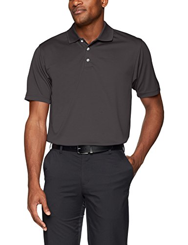 Men's Pebble Beach Golf Polo Shirt with Short Sleeve and Horizontal Textured Design, Charcoal, XX-Large ()