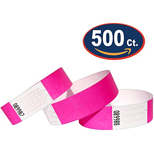 Tyvek Wristbands - 500 Pack - Neon Pink - 3/4