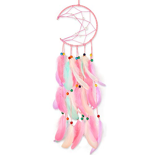 QtGirl Moon Dream Catcher for Kids, Handmade Dream Catchers with Feathers Wall Hanging Home Decoration for Baby Girls…