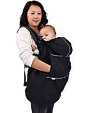 JAN & JUL Waterproof Baby Rain Cover with Hood and Pockets, Universal for Baby Carriers and Strollers (Black)