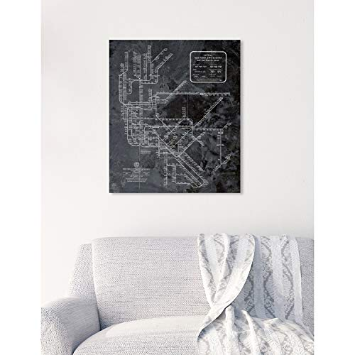 The Oliver Gal Artist Co. Oliver Gal 'NY Subway Map Dark Rustic' Black Cities Wall Art Print Premium Canvas 17