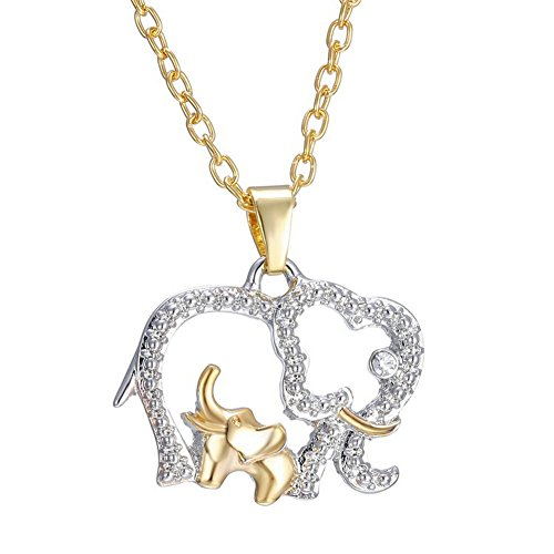 Gold Tone Elephant with Baby Lucky Crystal Animal Necklace Gift for Womens -