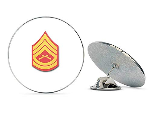Veteran Pins USMC US Marine Corps E-7 Gunnery Sergeant RED/Gold Chevron Steel Metal 0.75