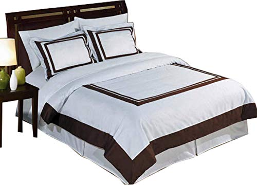 8 Piece Hotel Bed-in-A-Bag: Queen Size, 100% Cotton, 300TC- White & Chocolate Duvet Cover Set with Matching Sheet Set + White Down Alternative Comforter Sets