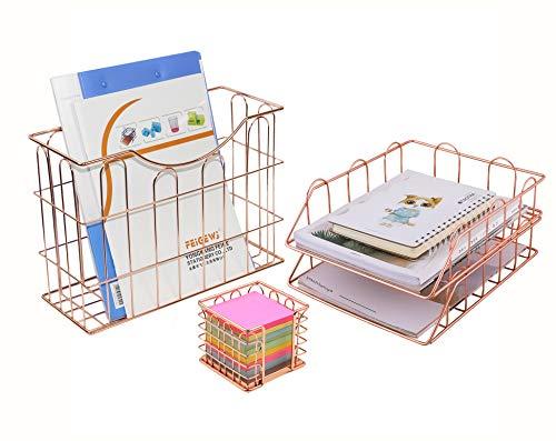 Simmer Stone Schreibtisch-Organizer 4er Set Twilled Wire Design gold