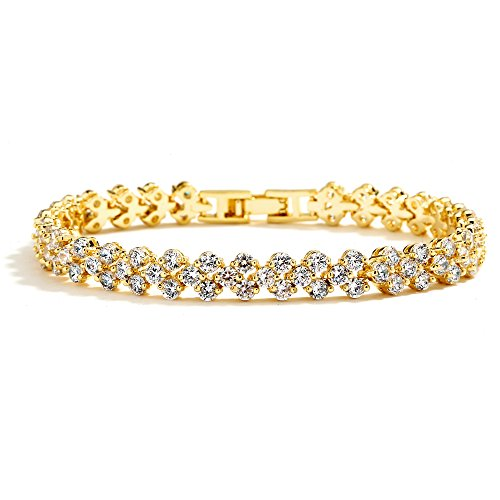 Tennis Gold Bracelets Gemstone (Mariell Cubic Zirconia Gold Tennis Bracelet for Brides, Wedding, Prom or Everyday - Real 14K Gold Plated)