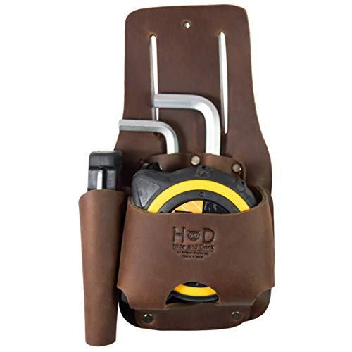 Hide & Drink, Leather Tape & Knife Holder/Marking and Measuring Pouch/Tool Case/Screwdriver Holster/Pocket Belt Pouch, Handmade :: Bourbon Brown (Fat Max Tape Measure Holder)