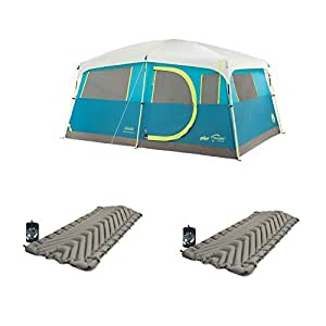 "Coleman Tenaya Lake 8 Person Cabin Tent + Klymit Static V Luxe 30"" Sleep Pad (2)"