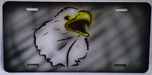American Airbrushed Eagle - Eagle American Gray Personalized Airbrushed License Plate Aluminum Georgee's Airbrush