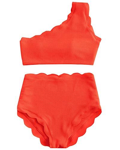 - High Waisted Swimsuit Two Piece Bikini Set Scalloped Vintage Women Off Shoulder Elastic Swimwear (Orange, XL)