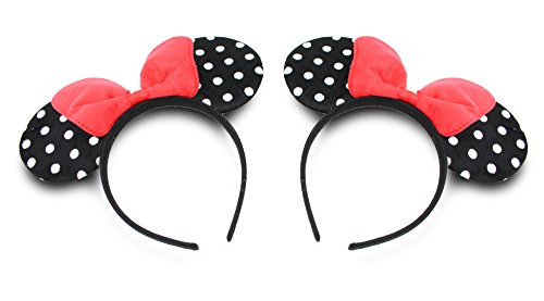 Finex Set of 2 - Black Polka Dot Minnie Mouse Ear Headband with Red Bow Set -