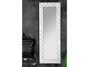 Miroir capitonné Strass simili cuir argent 170x60 cm Couleur Blanc ...