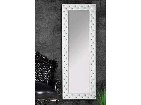 miroir capitonn strass simili cuir blanc 170x60 cm - Miroir Mural Blanc Simili Cuir Strass