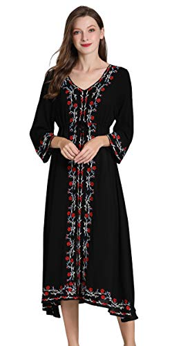 Blouse Sleeve 3/4 Embroidered - Shineflow Womens Casual 3/4 Sleeve Floral Embroidered Mexican Peasant Dressy Tops Blouses Shirt Dress Tunic (XL, Black)