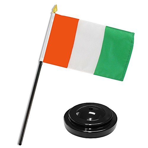 ALBATROS Cote DinIvoire Ivory Coast 4 inch x 6 inch Flag Desk Set Table Stick with Black Base for Home and Parades, Official Party, All Weather Indoors Outdoors