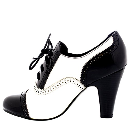Brevet Noir blanc Chaussure Bloc Jane Chaussez Mary Talon Soir Mi Bottines Viva Travail Femmes PwUZOO