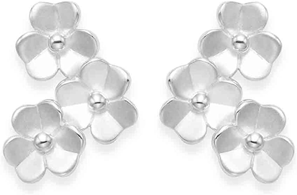 Sterling Silver Frosted Finish Flower Stud Earrings