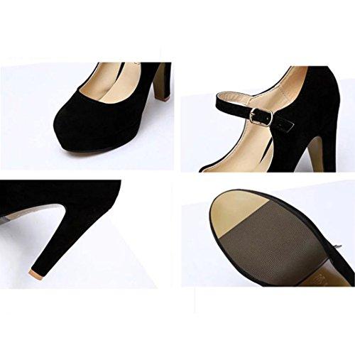 Chaussures Fermeture Epais Flock Lacets Noir Bride Femme Sexy Aiguille Haut Soirée Soiree Talon Boucle Club Rond High Hcfkj Cheville Bout Heels Shallow Mariage Escarpins Plateforme q7PvxXXwfO