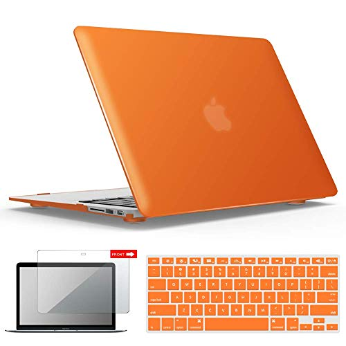 iBenzer MacBook Air 13 Inch Case, Soft Touch Hard Case Shell Cover with Keyboard Cover Screen Protector for Apple MacBook Air 13 A1369 1466 NO Touch ID, Orange,MMA13OR+2