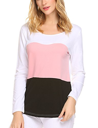 Note Womens Pink T-shirt (Sweetnight Women's Casual Long Sleeve Color Blocking Round Neck Striped T Shirt Top Plus Size (L, Light Pink))
