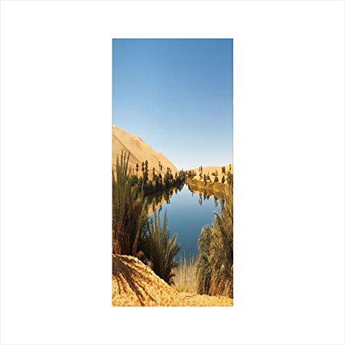 Satin Oasis Striped - Decorative Window Film,No Glue Frosted Privacy Film,Stained Glass Door Film,Idyllic Oasis Awbari Sand Sea Sahara Libya Pond Lush Arid Country,for Home & Office,23.6In. by 47.2In Light Blue Green Sand