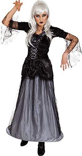 Ladies Long Gothic Corpse Bride Graveyard Queen Halloween Zombie Horror Fancy Dress Costume Outfit UK 8-22 Plus Size (UK 8-10 (EU 36/38)) ()