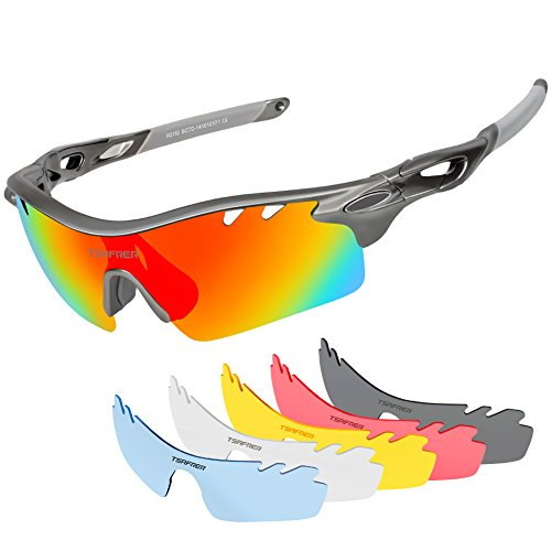 Tsafrer Polarized Sports Sunglasses with 6 Interchangeable Lenses, Tr90 Unbreakable Sunglasses for Men Women Cycling Driving Running Golf - Sports Men For Sunglasses