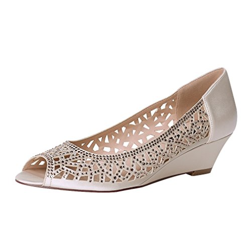 ERIJUNOR E1606 Women Peep Toe Pumps Comfortable Low Heel Wedges Sparkle Rhinestone Wedding Bridal Shoes Champagne 8