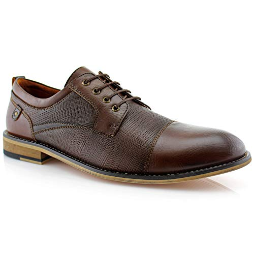 Ferro Aldo Mens Oxfords Classic Modern Captoe Dress Shoes Brown 11 b2297fe4d