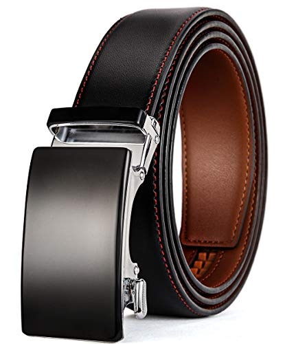plyesxale Men's Leather Ratchet Dress Belt- Length is Adjustable - Delicate Gift Box (Waist Size:36-44