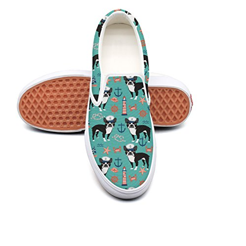 SEERTED Nautical Boston Terrier Dog Light House Comfortable Sneakers for Women for Work 8.5 Size