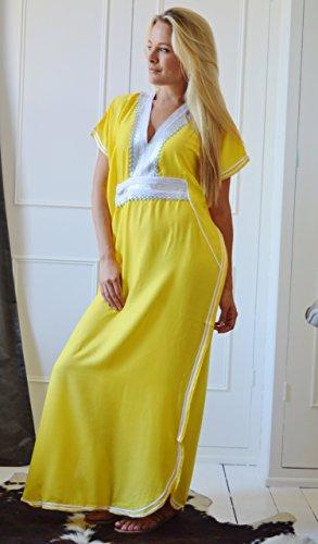 Gelb Schnitt Damen Resort Wear handgefertigt Fashion Up Cover Baumwolle Kaftan New 8T7xwvw